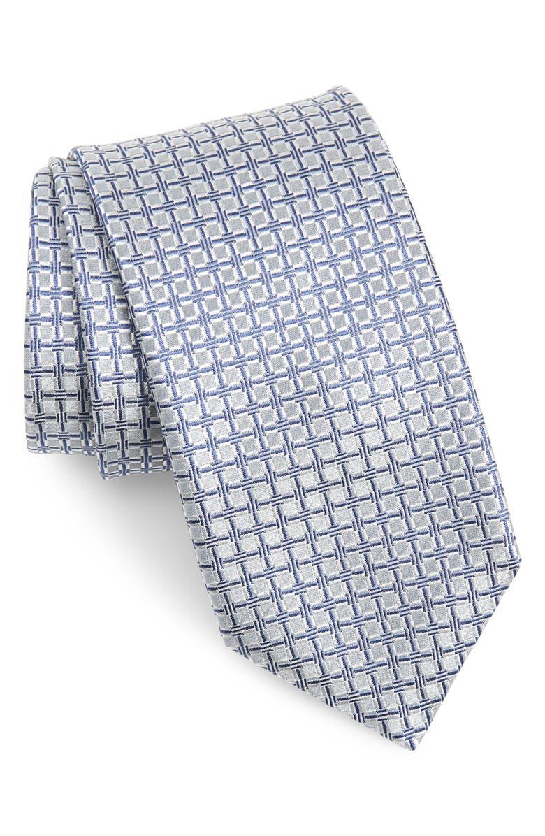 CANALI Grid Silk Tie, Main, color, 450