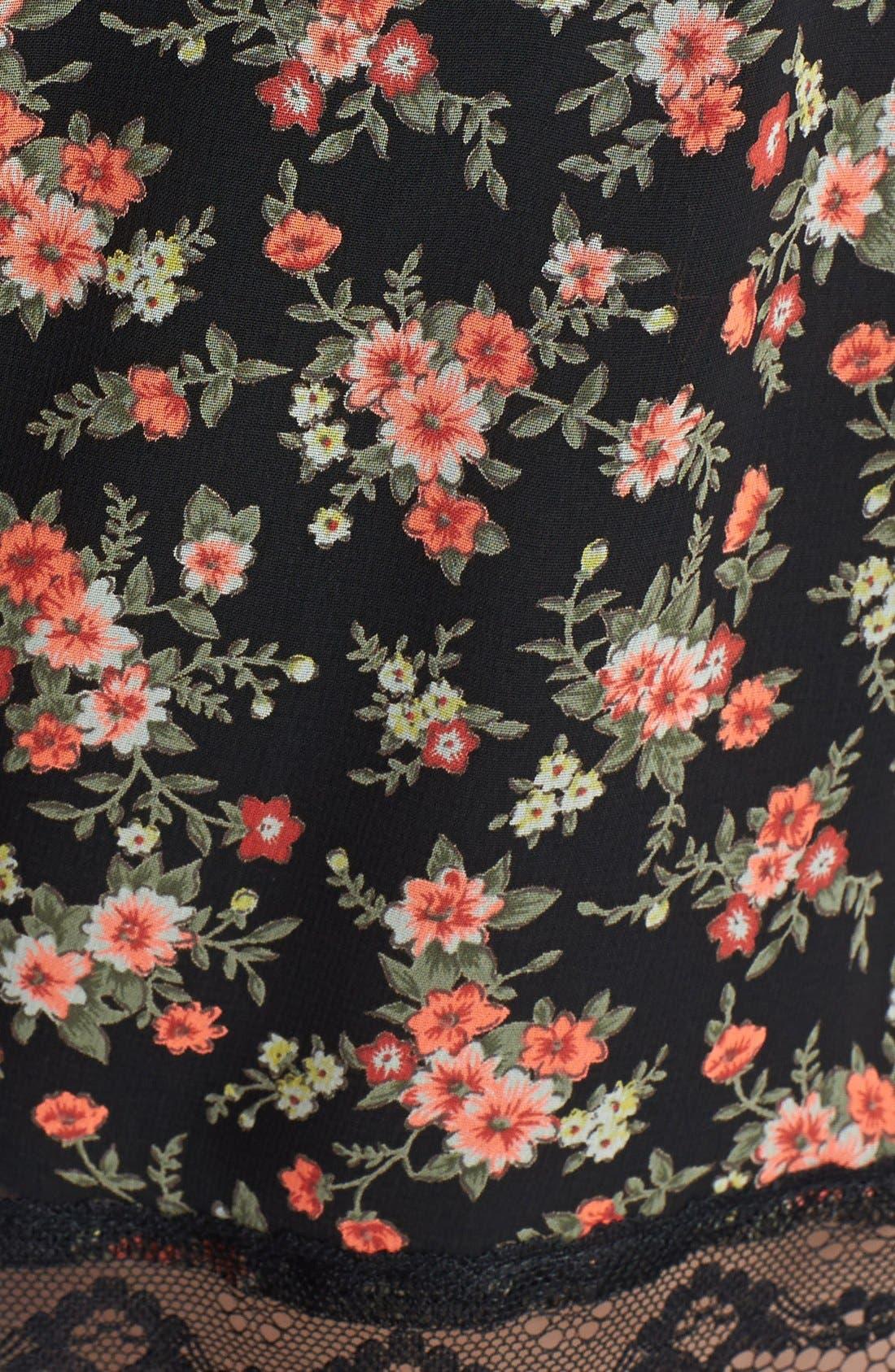 ,                             Lace Trim Floral Print Shorts,                             Alternate thumbnail 6, color,                             002