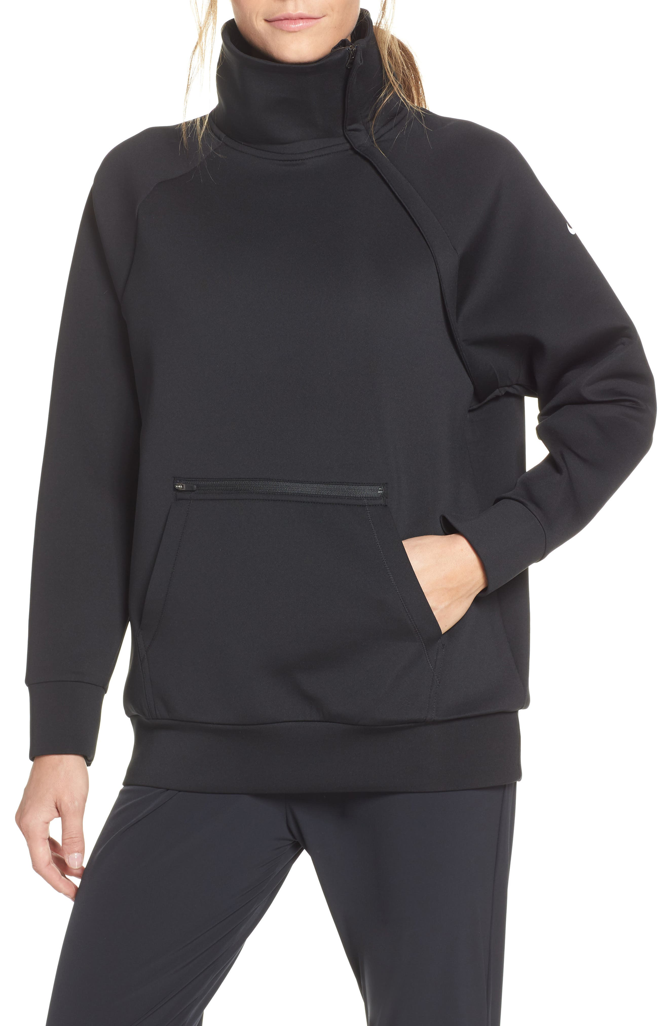 Mock Neck Zip Pullover, Main, color, 010
