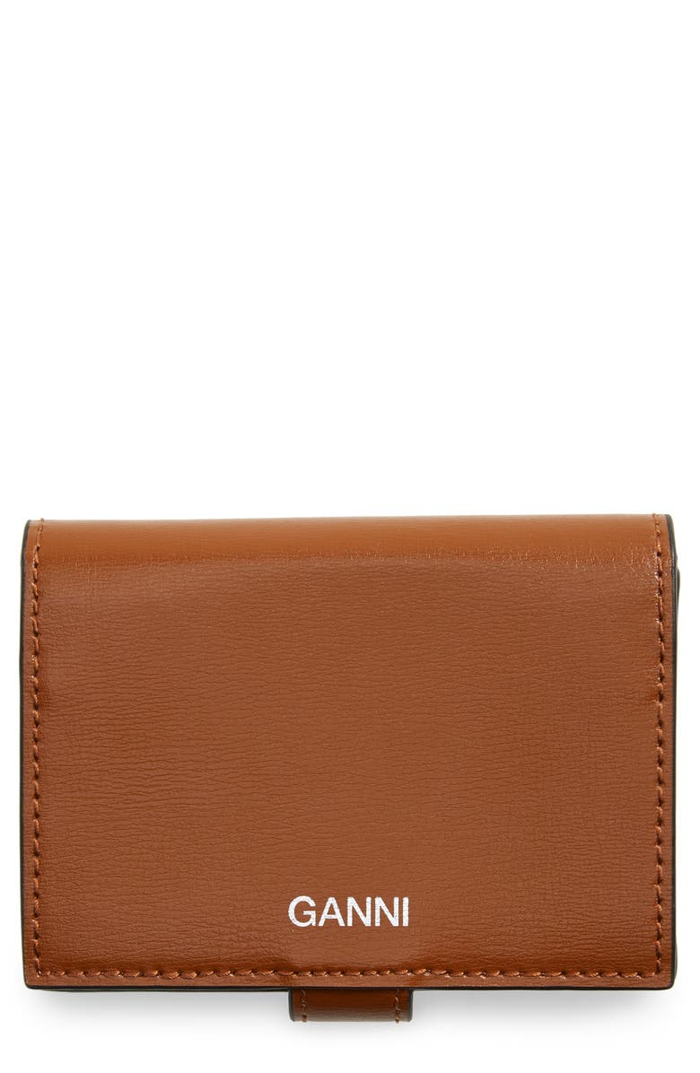 GANNI Bifold Textured Leather Wallet, Main, color, COGNAC