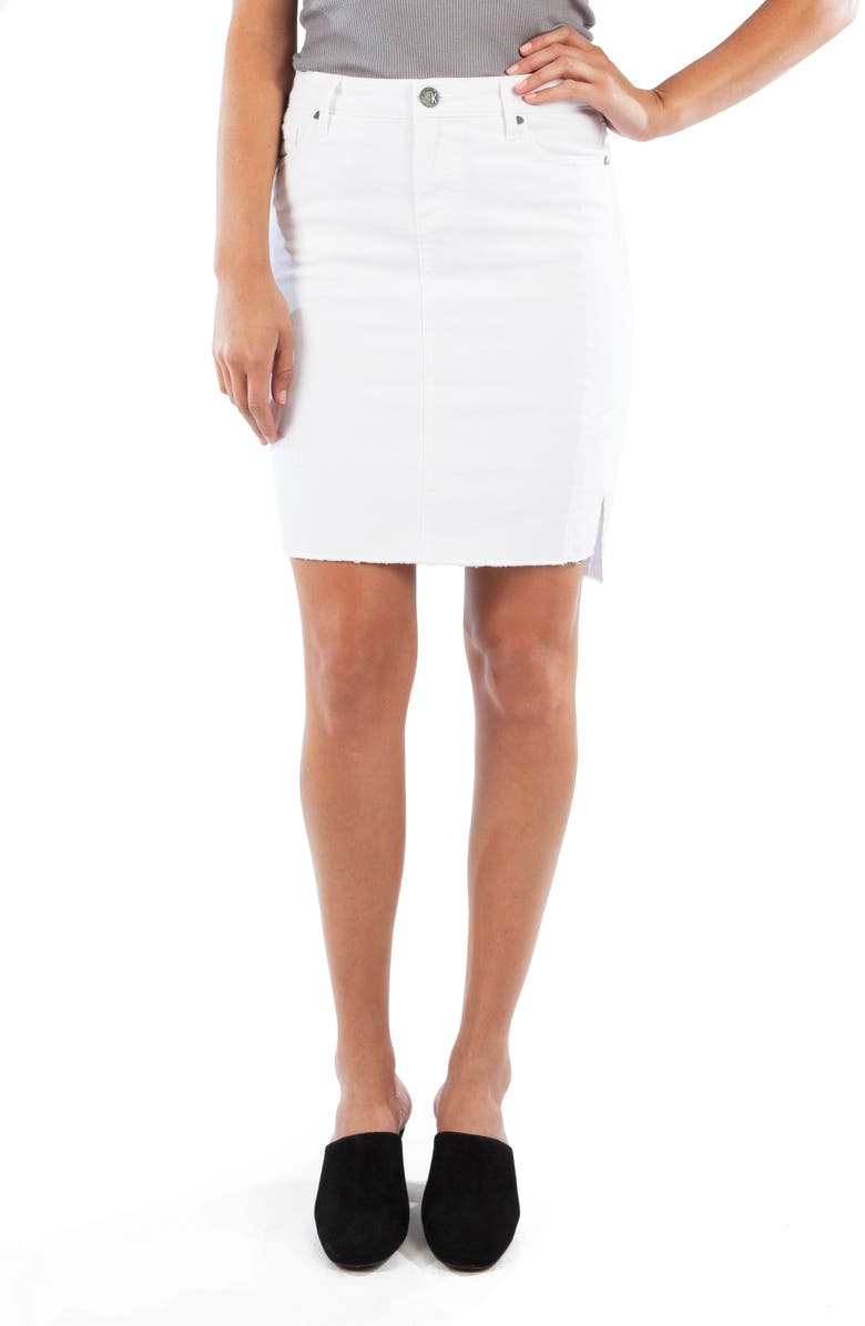 KUT FROM THE KLOTH Connie Step Raw Hem Stretch Cotton Skirt, Main, color, 110