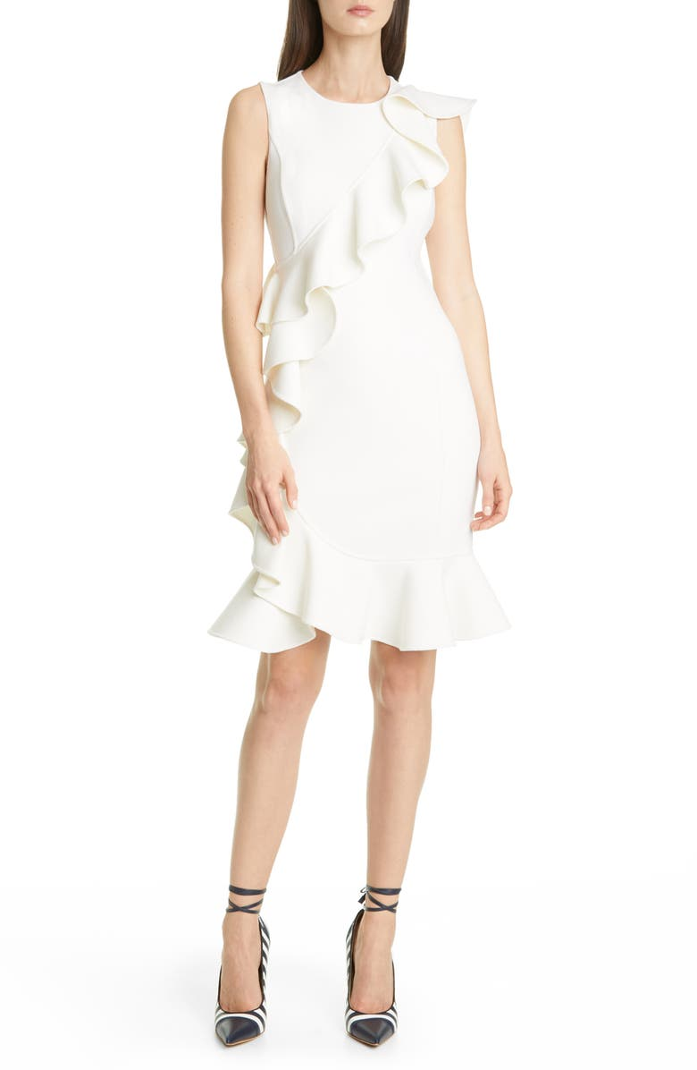 MICHAEL KORS COLLECTION Ruffle Trim Wool Blend Sheath Dress, Main, color, WHITE