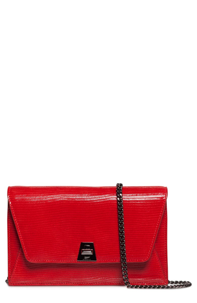AKRIS Anouk Lizard Embossed Wallet on a Chain, Main, color, LIPSTICK