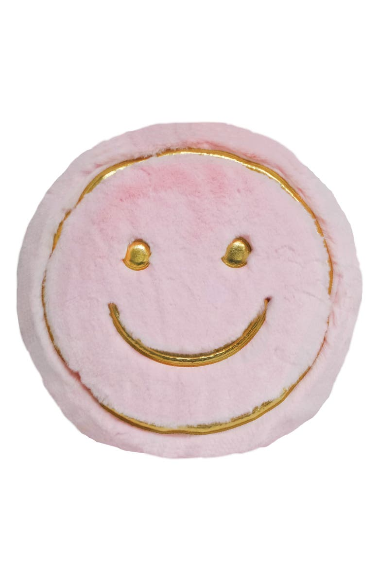 ISCREAM Golden Smile Faux Fur Accent Pillow, Main, color, LIGHT PINK