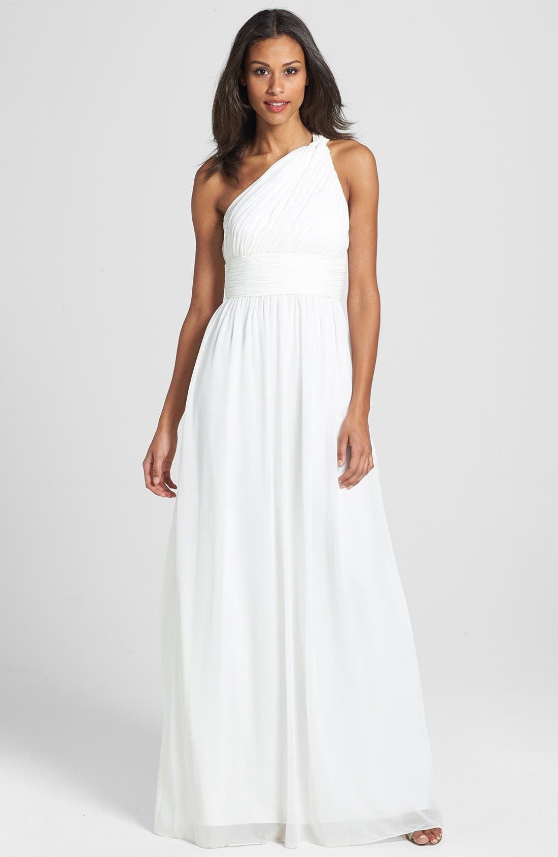 ,                             'Rachel' Ruched One-Shoulder Chiffon Gown,                             Main thumbnail 23, color,                             100