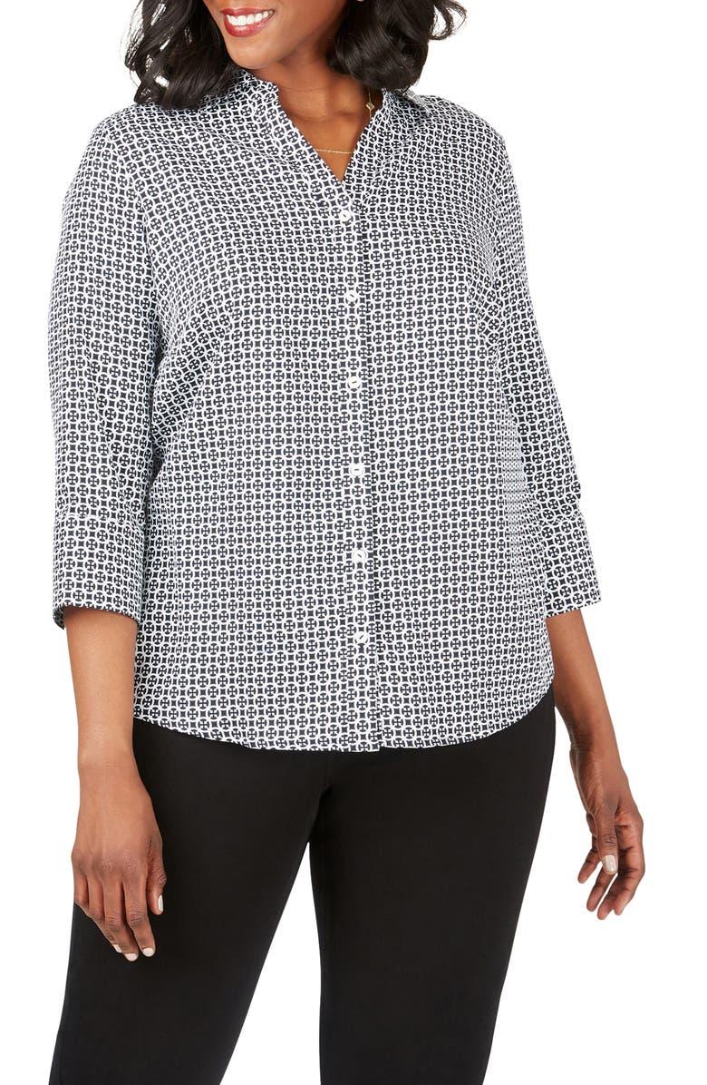 FOXCROFT Mary Status Print Wrinkle-Free Shirt, Main, color, BLACK