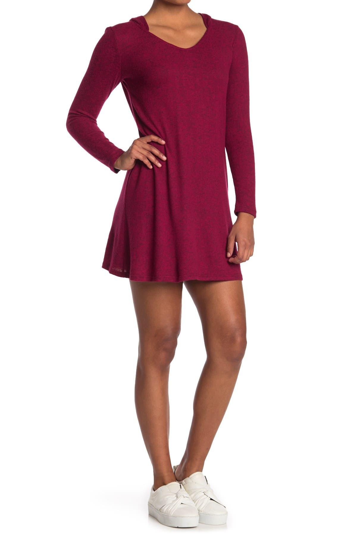 Image of TASH + SOPHIE Marled A-Line Hooded Dress