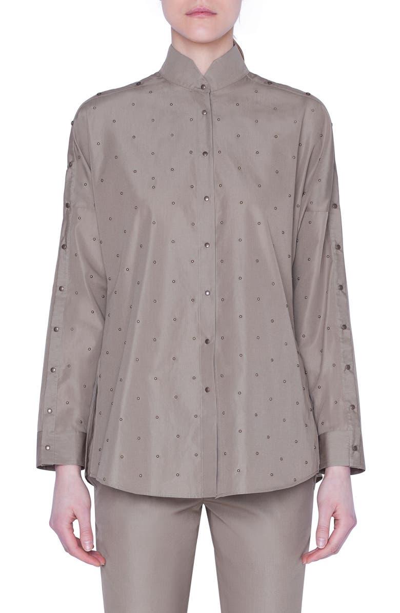 AKRIS PUNTO Stud Detail Cotton Shirt, Main, color, KHAKI