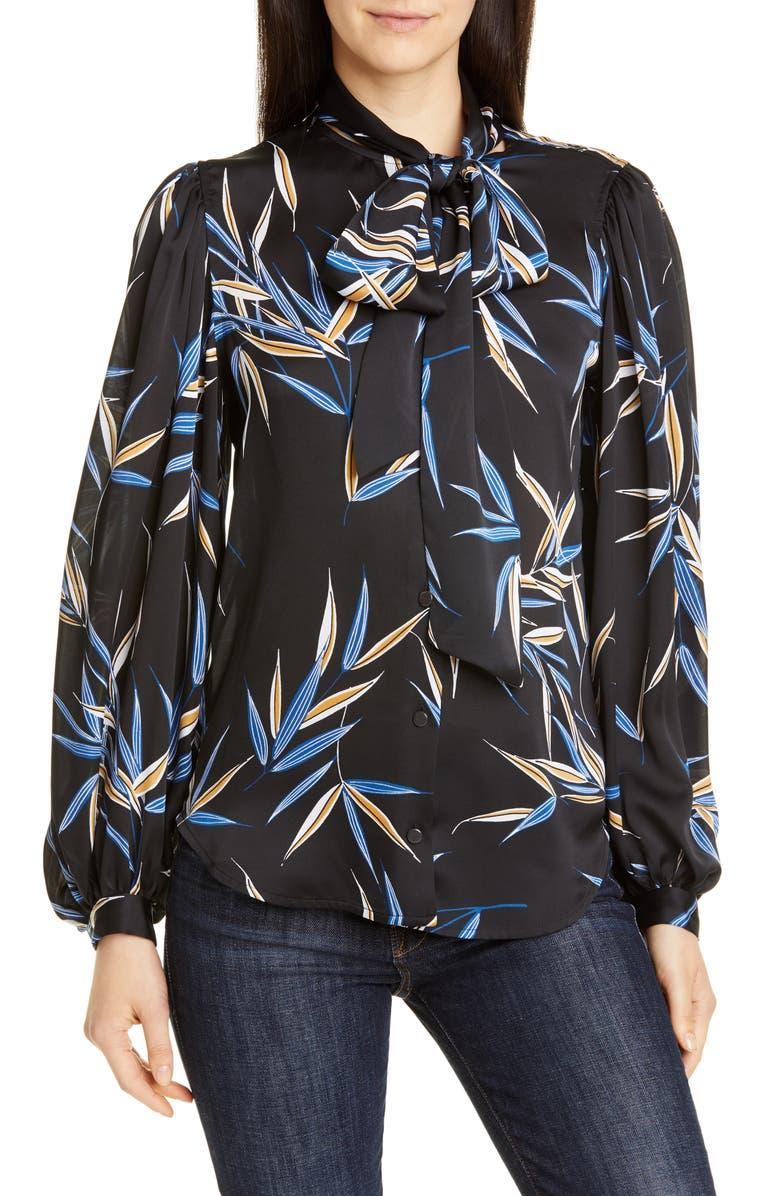 EQUIPMENT Cleone Floral Tie Neck Blouse, Main, color, TRUE BLACK MULTI
