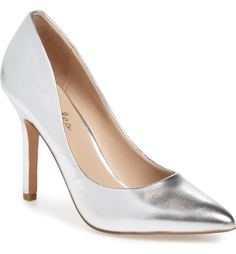 CHARLES BY CHARLES DAVID Maxx Pointy Toe Pump, Main, color, SILVER LEATHER