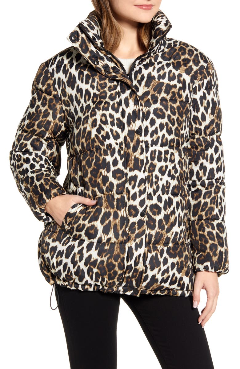 VIA SPIGA Stand Collar Water Resistant Leopard Print Puffer Coat, Main, color, LEOPARD