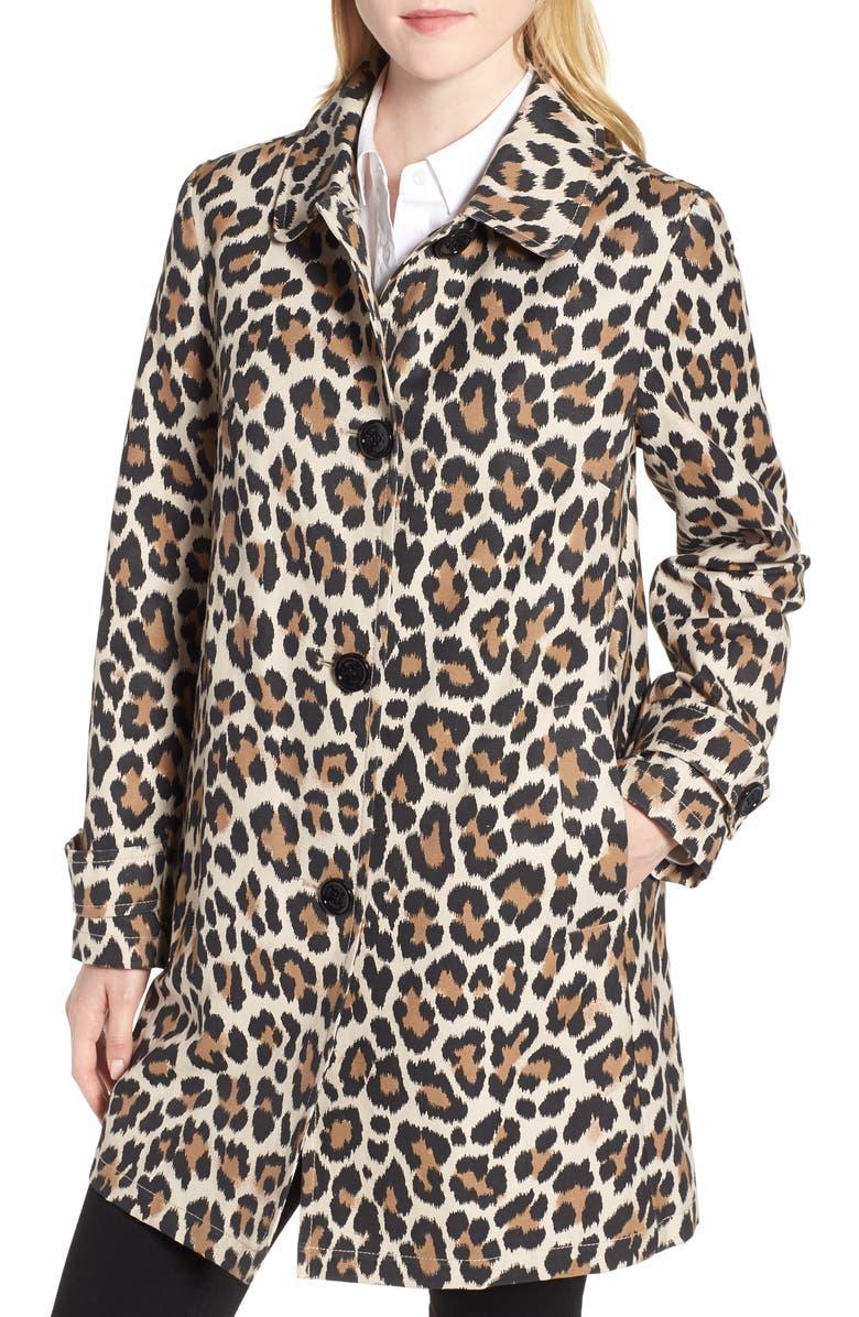 KATE SPADE NEW YORK leopard print water repellent coat, Main, color, 200