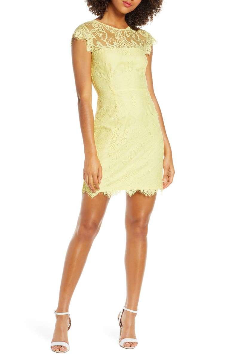 BB DAKOTA Jayce Lace Sheath Cocktail Dress, Main, color, CITRUS