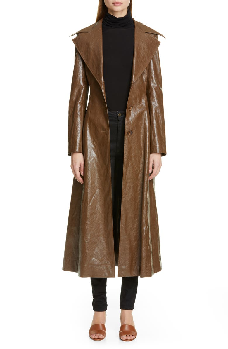 REJINA PYO Rhea Faux Leather Trench Coat, Main, color, WALNUT BROWN