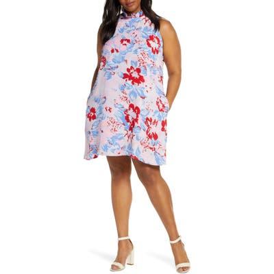 Plus Size Gibson X Hi Sugarplum! Cavallo Ruffle Neck Date Dress, Pink