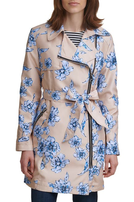 Image of Karl Lagerfeld Paris Double Breasted Floral Print Trench Coat