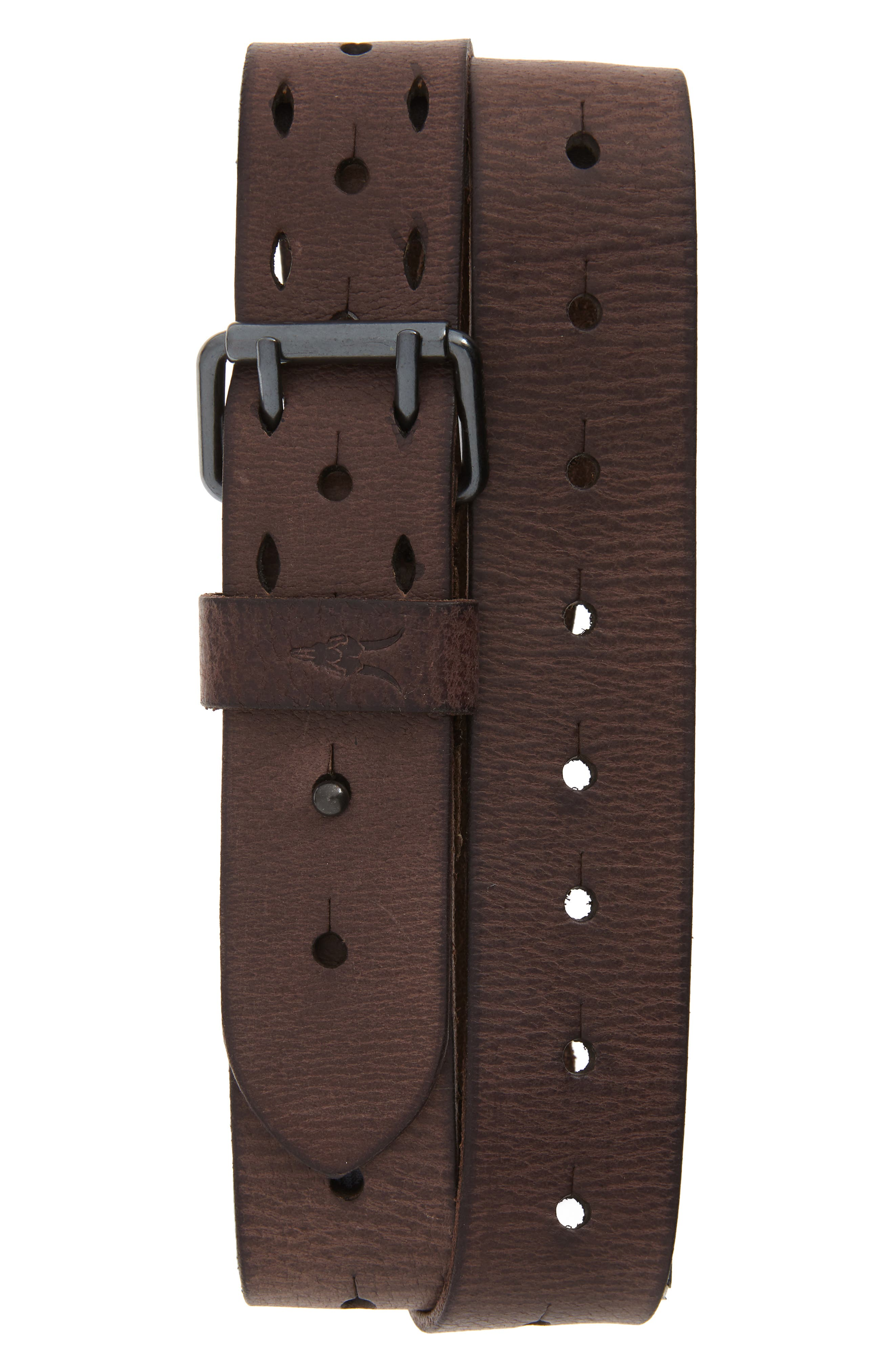 Allsaints Perforated Leather Belt, Bitter Brown