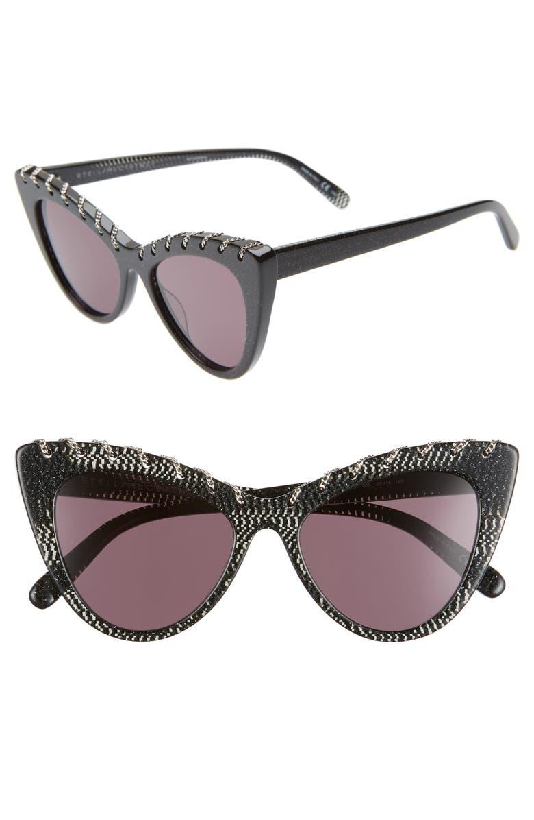 STELLA MCCARTNEY 52mm Cat Eye Sunglasses, Main, color, BLACK/ SILVER