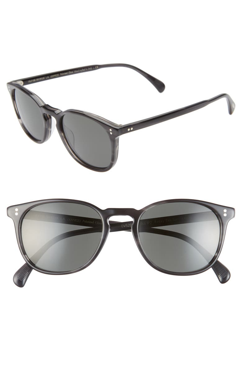 OLIVER PEOPLES Finley Esq 51mm Polarized Sunglasses, Main, color, CHARCOAL TORTOISE