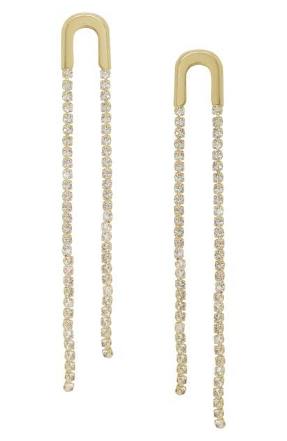 16b2e69e6 Ettika Crystal Chain Drop Earrings In Gold   ModeSens