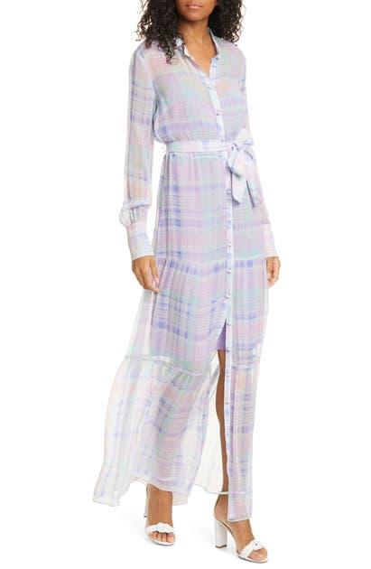 VERONICA BEARD EVANGELINE PLAID LONG SLEEVE SILK MAXI DRESS