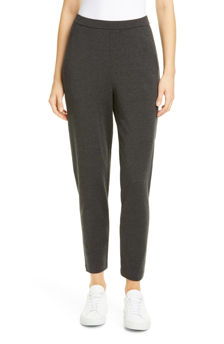 EILEEN FISHER Slouchy Slim Ankle Pants, Main, color, CHARCOAL