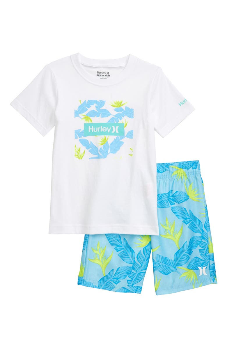 HURLEY Hanoi T-Shirt & Shorts Set, Main, color, TOPAZ MIST