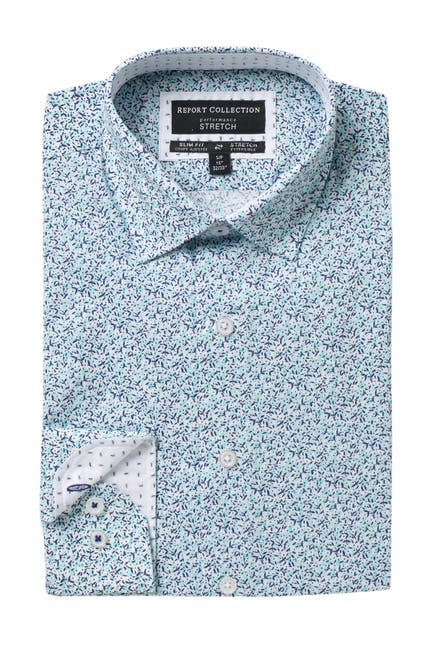 Image of Report Collection Floral Print Slim Fit Dress Shirt