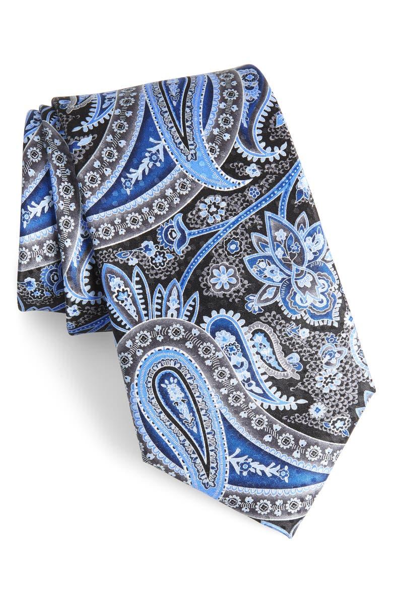 NORDSTROM MEN'S SHOP Paisley Silk X-Long Tie, Main, color, BLACK