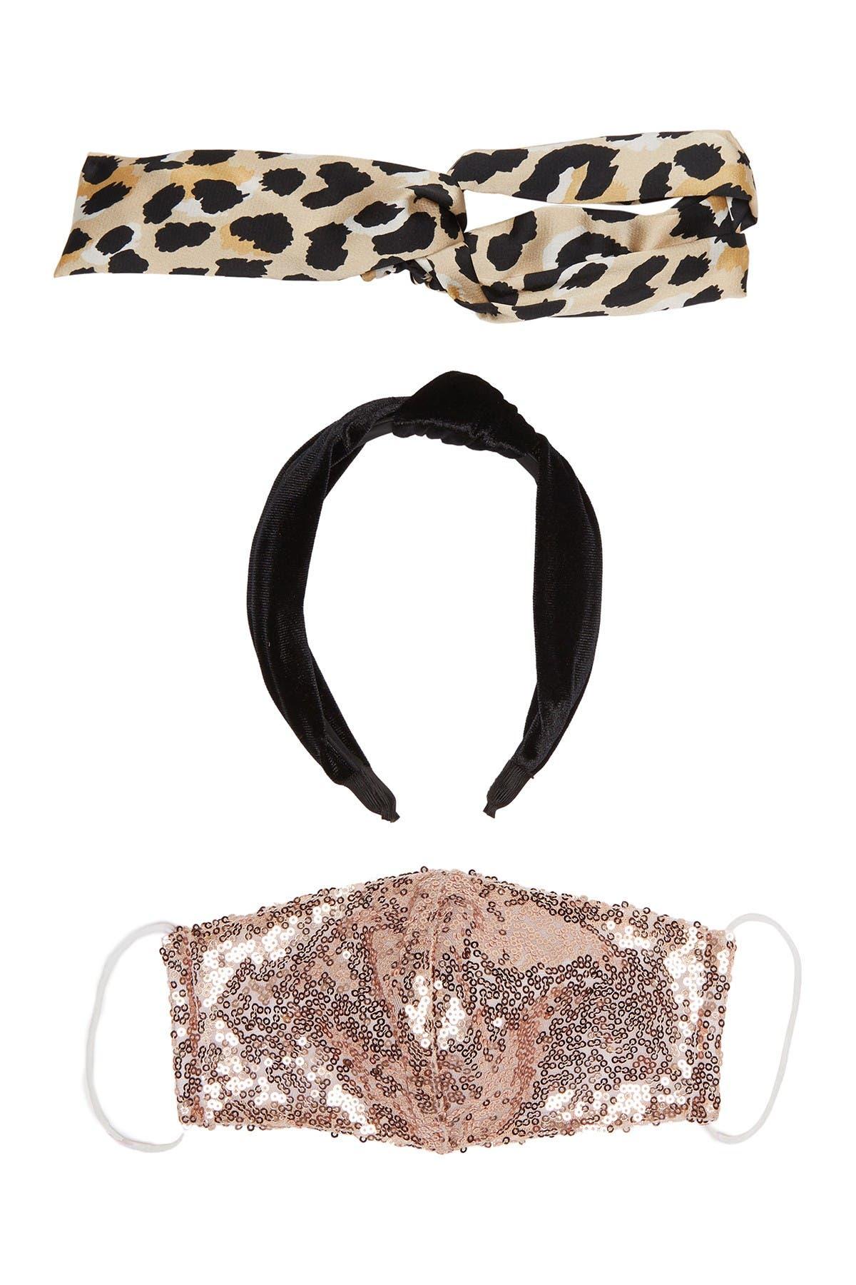 Image of Panacea Rose Sequined Face Mask & Headband 3-Piece Set
