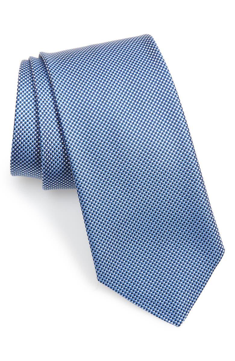 BOSS Check Silk Tie, Main, color, LIGHT BLUE