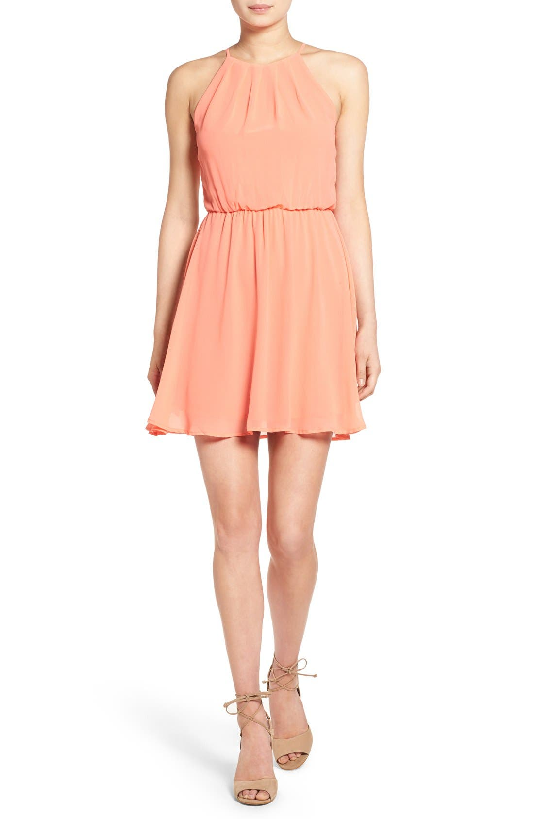 ,                             Blouson Chiffon Skater Dress,                             Main thumbnail 242, color,                             951