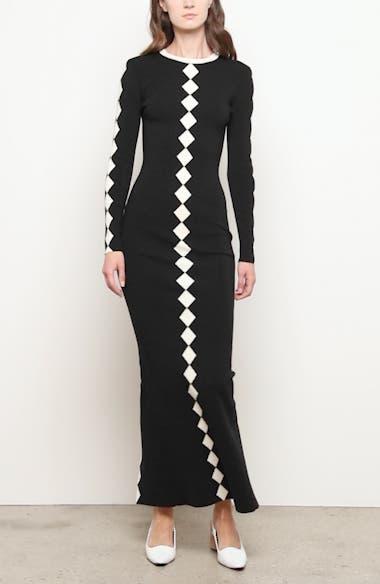 Diamond Pattern Long Sleeve Wool Maxi Dress, video thumbnail