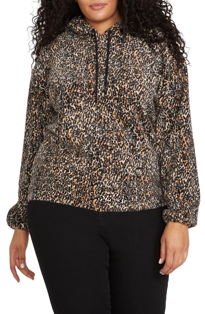 VOLCOM Leopard Hooded Sweatshirt, Main, color, 001