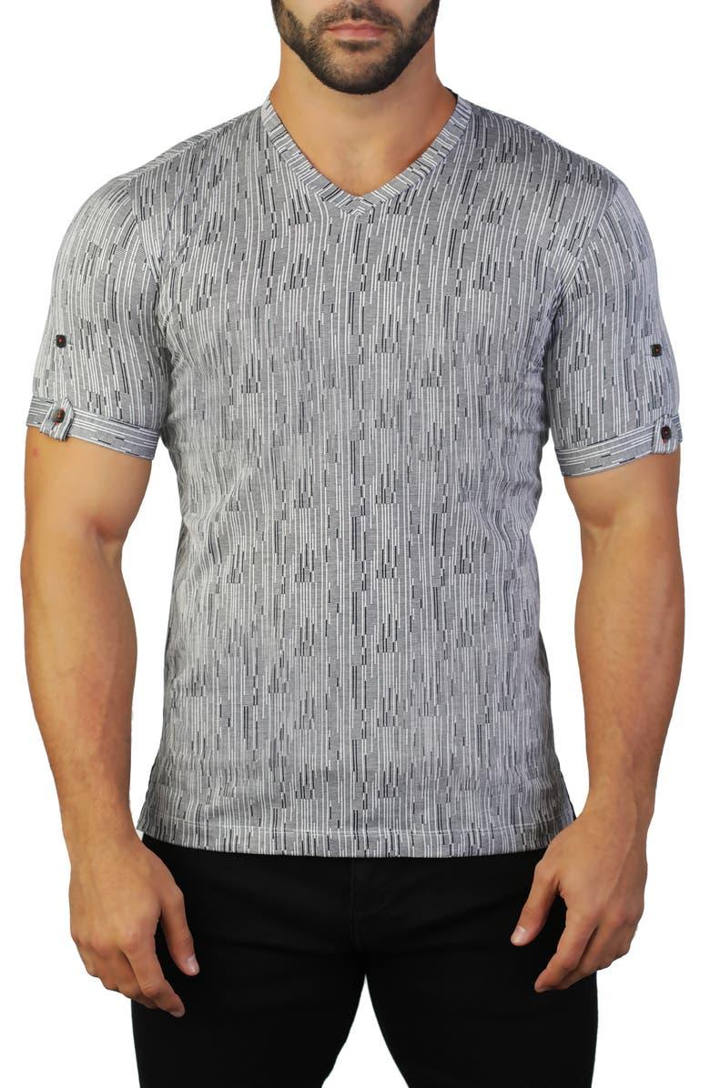 MACEOO Vivaldi Stripe V-Neck T-Shirt, Main, color, 007