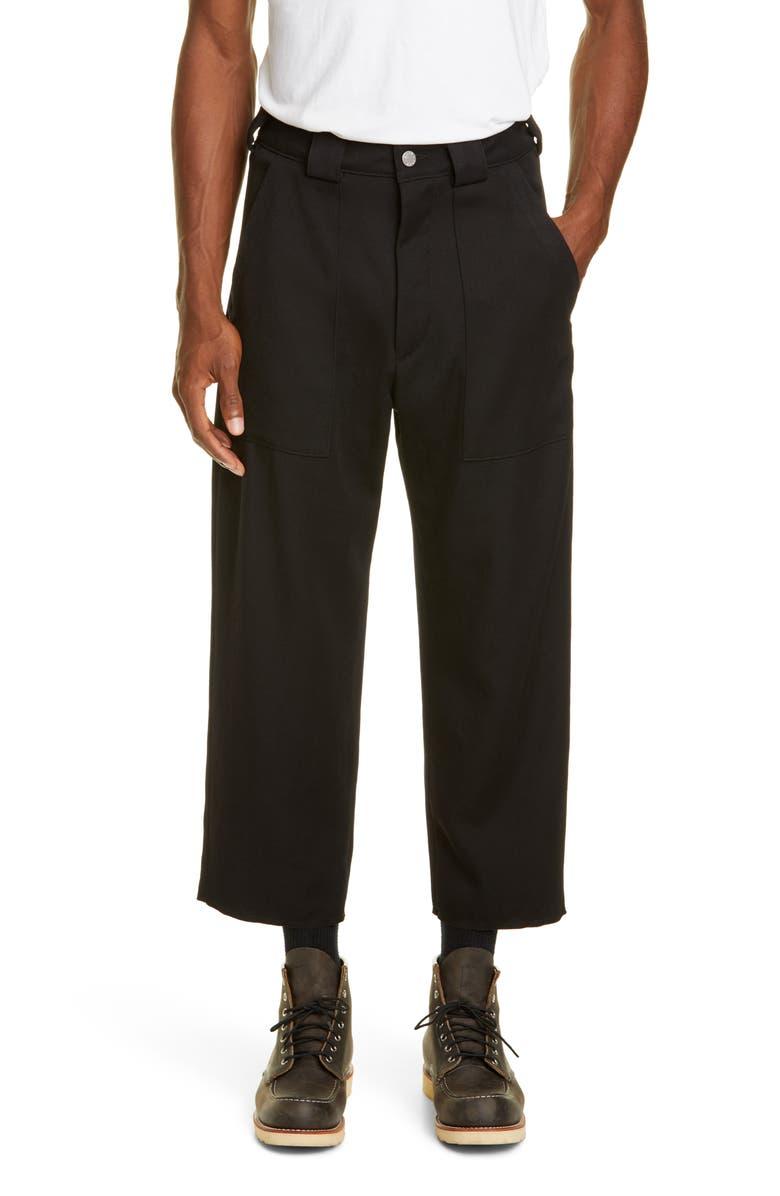 BILLY LOS ANGELES Cropped Wool Pants, Main, color, BLACK
