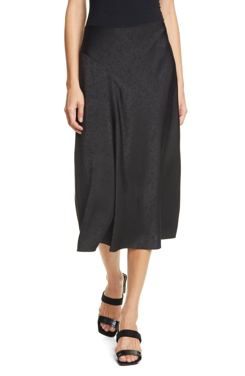 RAG & BONE Letti Satin Jacquard Midi Skirt, Main, color, BLACK