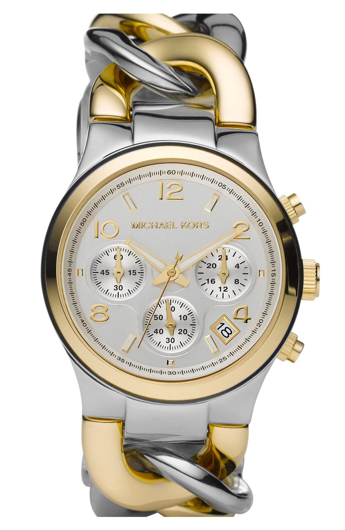 ,                             Michael Kors Chain Bracelet Chronograph Watch, 38mm,                             Main thumbnail 1, color,                             040