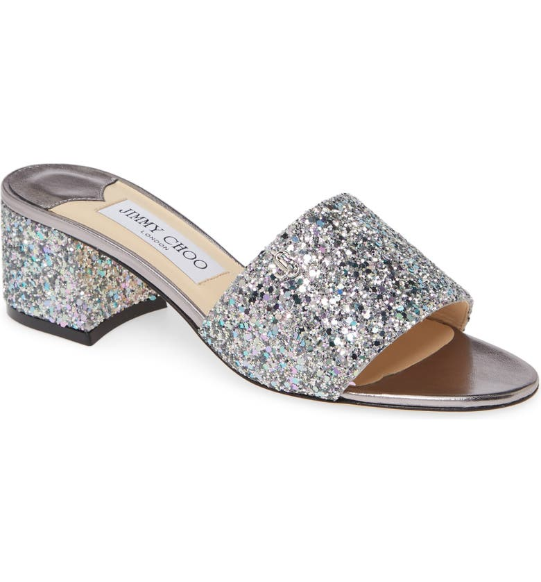 JIMMY CHOO Minea Glitter Slide Sandal, Main, color, SKY MIX