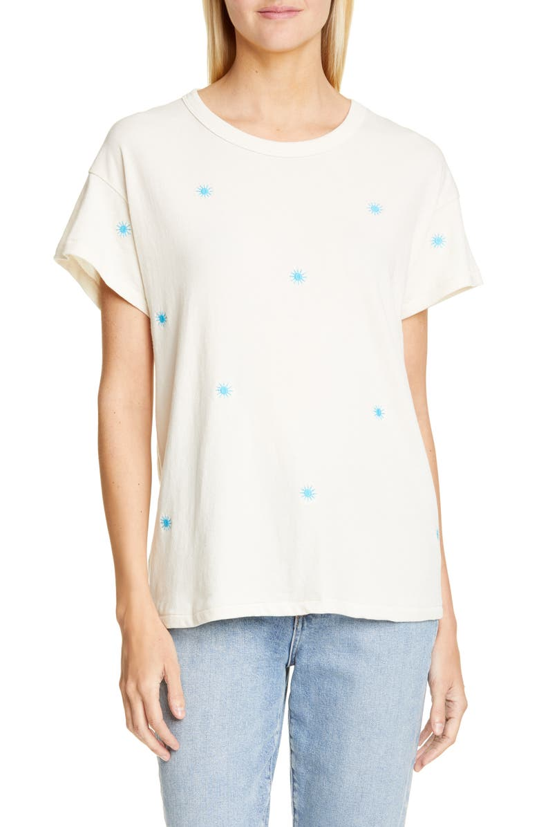 THE GREAT. The Embroidered Boxy Crew Tee, Main, color, 106