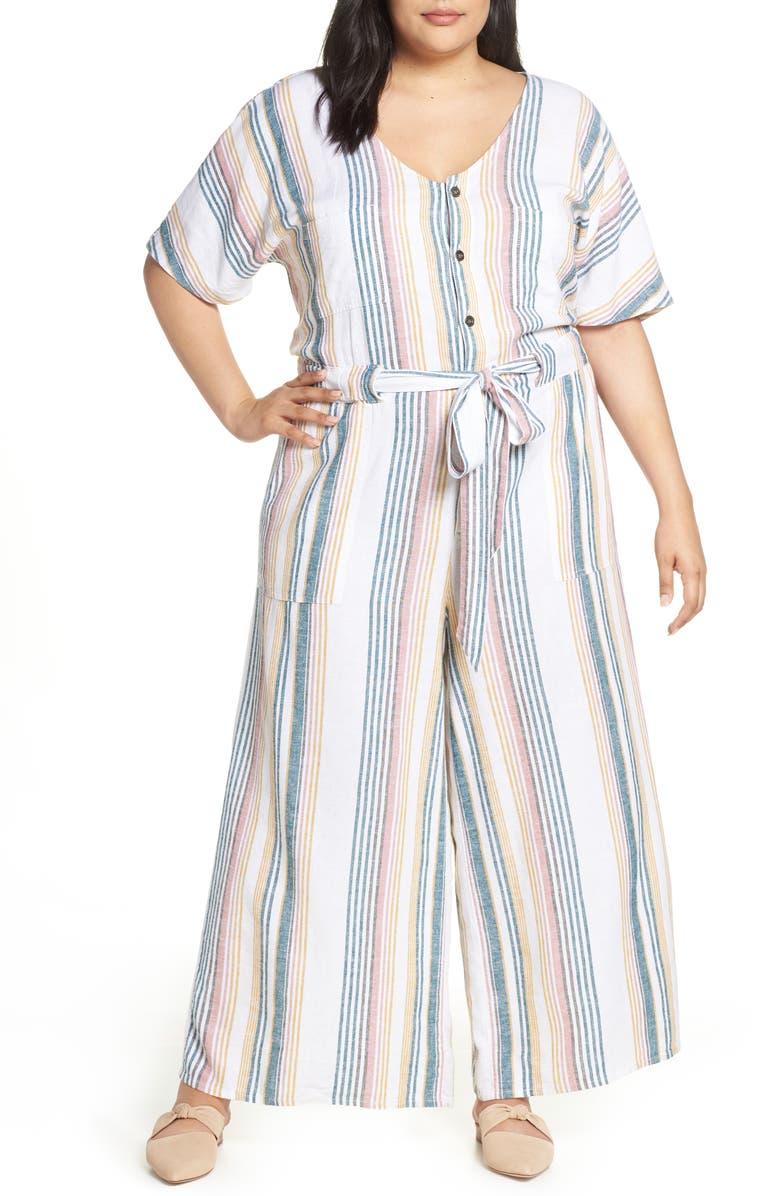 CASLON<SUP>®</SUP> Tie Waist Linen Blend Jumpsuit, Main, color, IVORY MULTI STRIPE