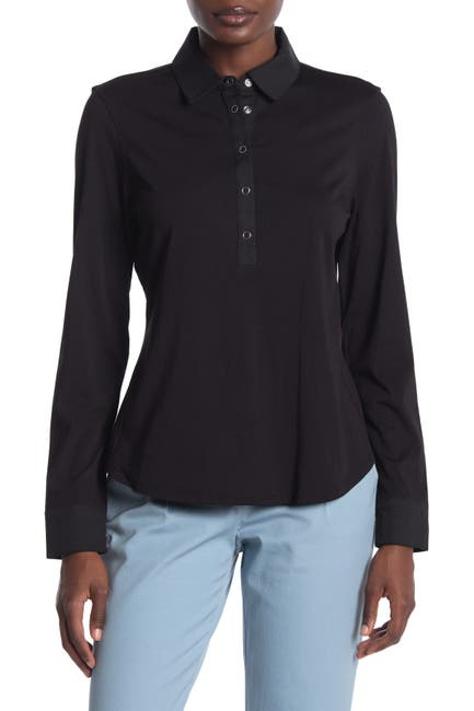 Image of Donna Karan Woman Long Sleeve Collared Top