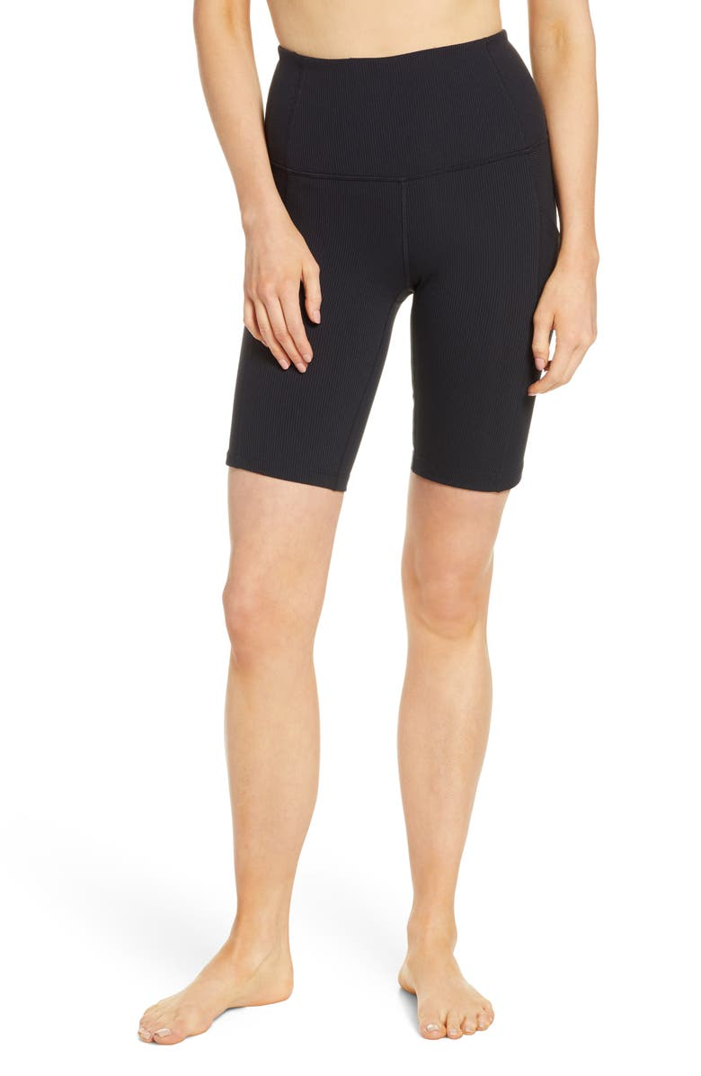 ZELLA Divine High Waist Rib Bike Shorts, Main, color, 001