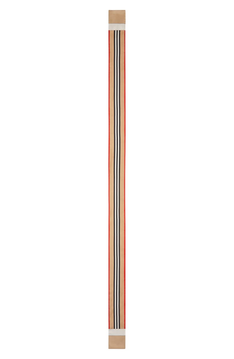 BURBERRY Icon Stripe Skinny Silk Scarf, Main, color, 200
