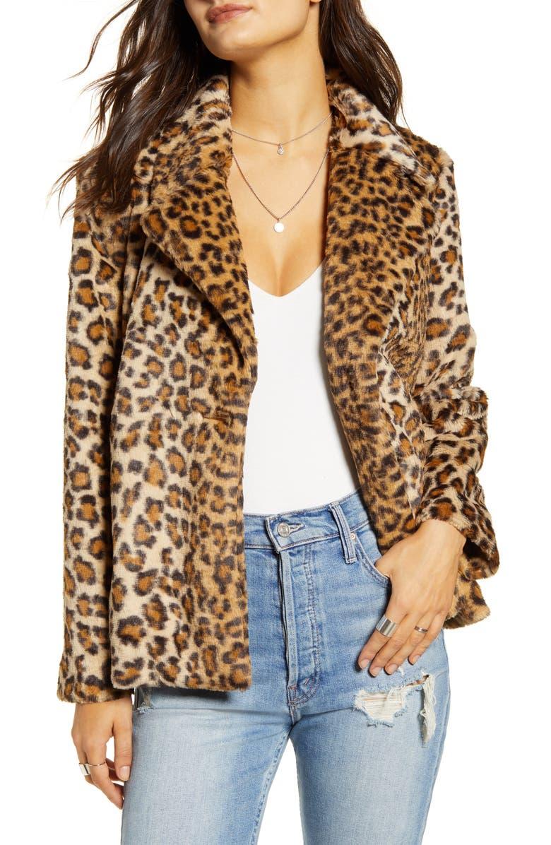 MURAL Leopard Faux Fur Jacket, Main, color, LEOPARD