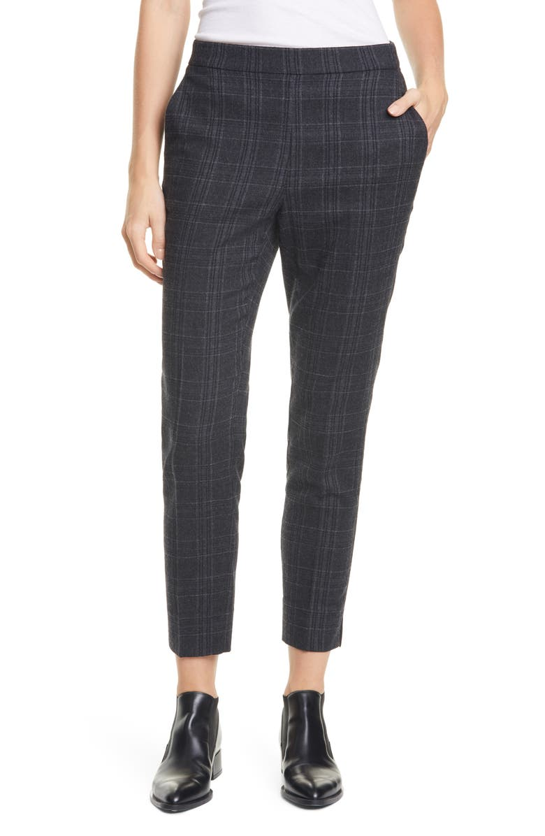 EILEEN FISHER Straight Slim Pants, Main, color, CHARCOAL