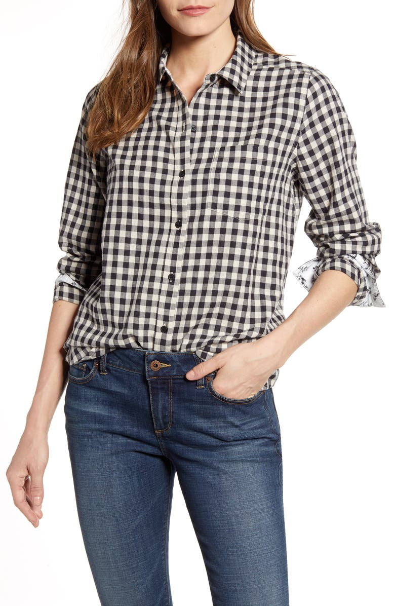 LUCKY BRAND Check One-Pocket Shirt, Main, color, BLACK MULTI