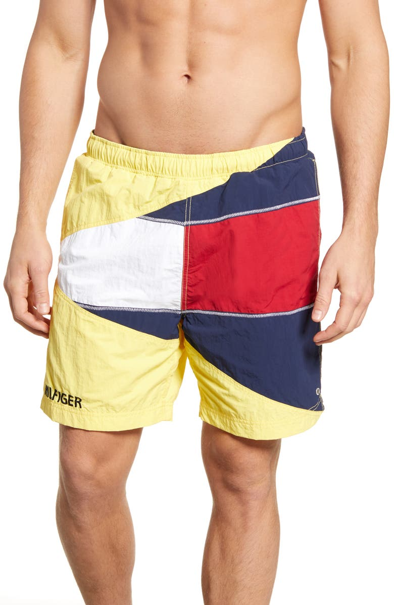 TOMMY JEANS Summer Flag Shorts, Main, color, GOLDFINCH / MULTI