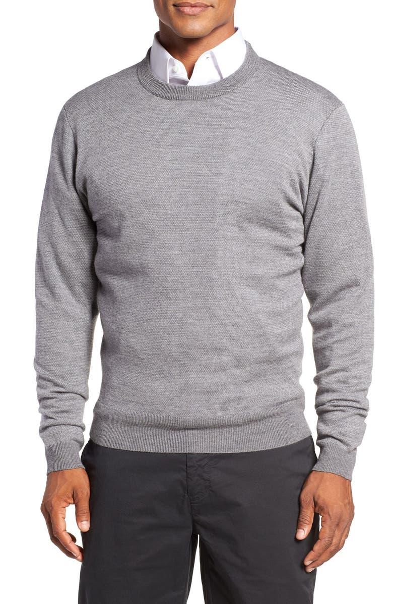 BOBBY JONES Bird's Eye Merino Wool Sweater, Main, color, 020