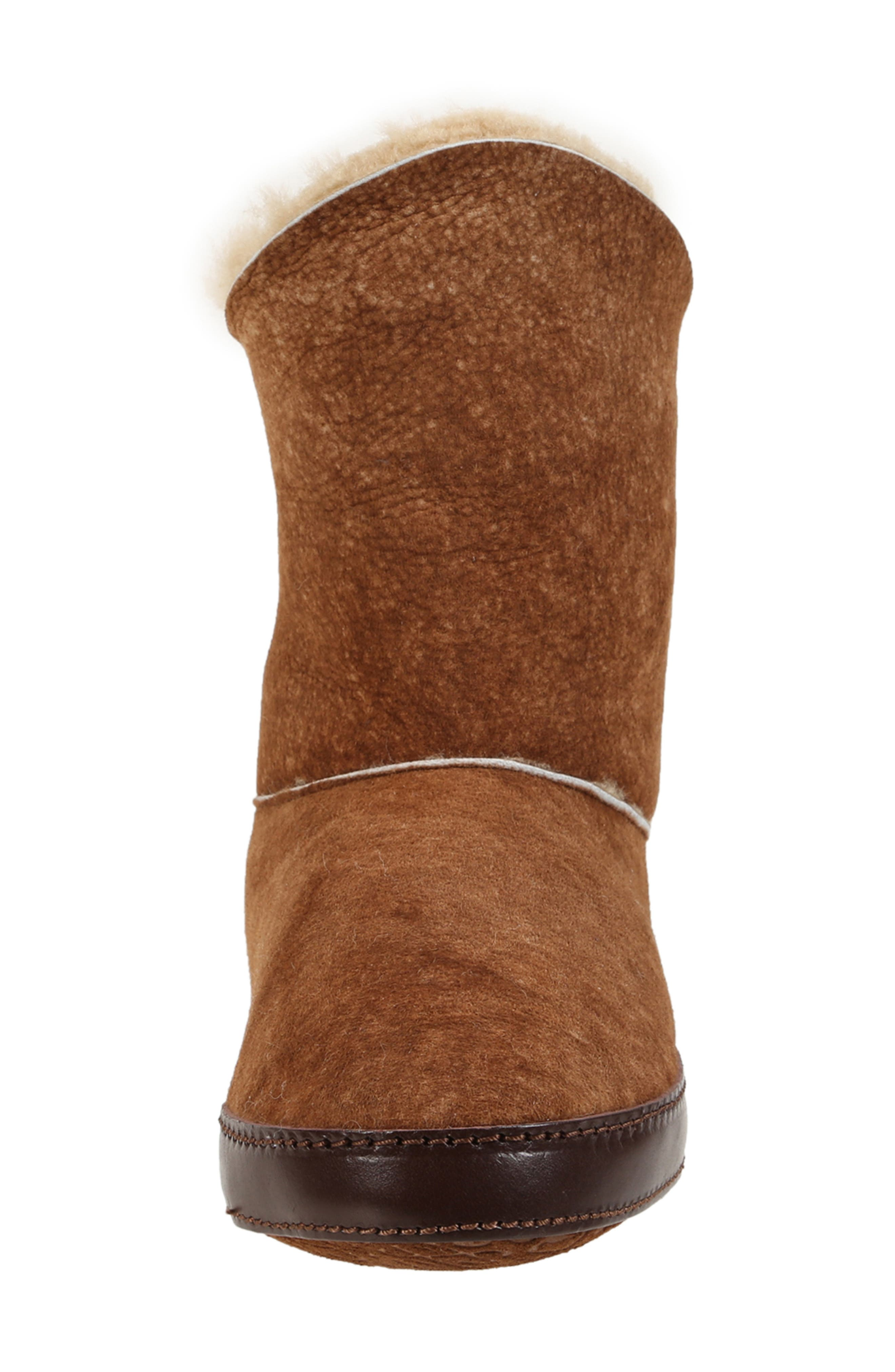 ,                             Gemma Genuine Shearling Slipper Bootie,                             Alternate thumbnail 3, color,                             STONE WASHED COGNAC